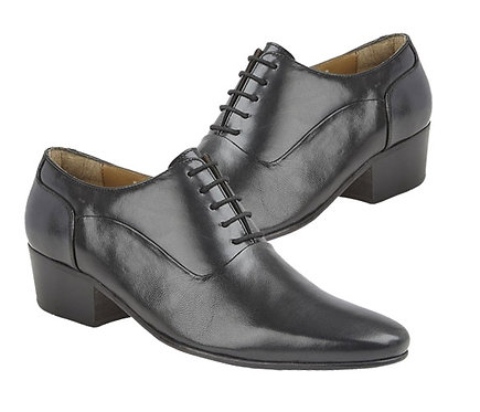 Black Leather Mens Cuban Heel Shoes