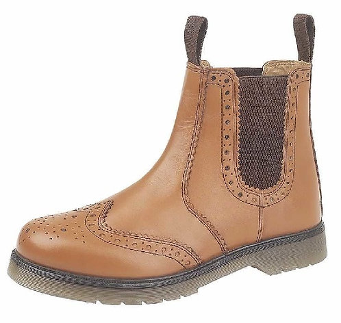 Mens / Boys Tan Leather Brogue Boots