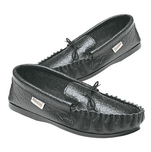 Mens Softie Black Leather Moccasin Slippers