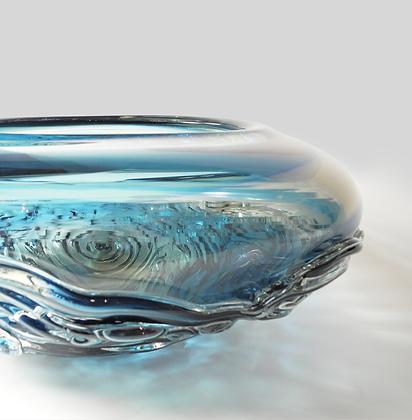 Steel Blue & Aqua Two Tone Ripple Wave Bowl