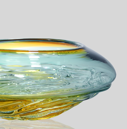 Lagoon & Gold Two Tone Ripple Wave Bowl