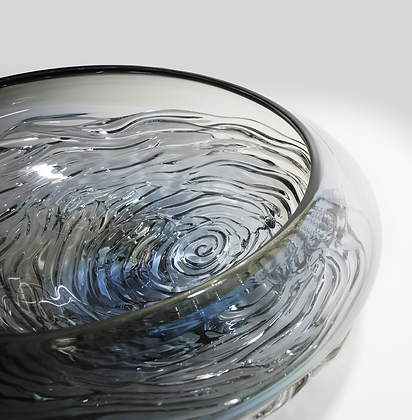 Steel Blue & Grey Two Tone Ripple Wave Bowl