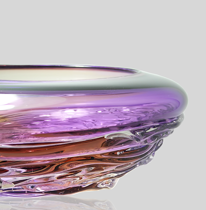 Purple & Aubergine Two Tone Ripple Wave Bowl
