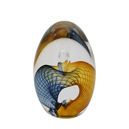 Steel Blue & Gold Egg Paperweight