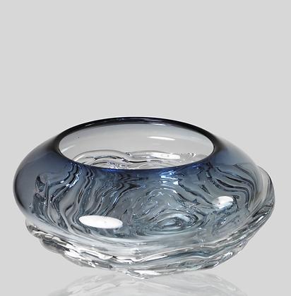 Steel Blue Ripple Wave Bowl