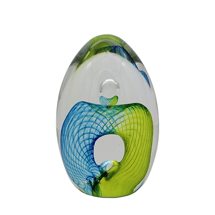 Aqua & Lime Egg Paperweight