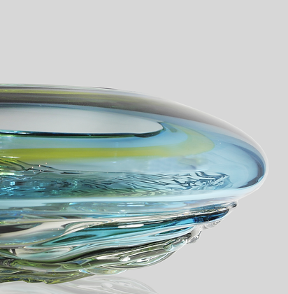 Aqua & Lime Two Tone Ripple Wave Bowl