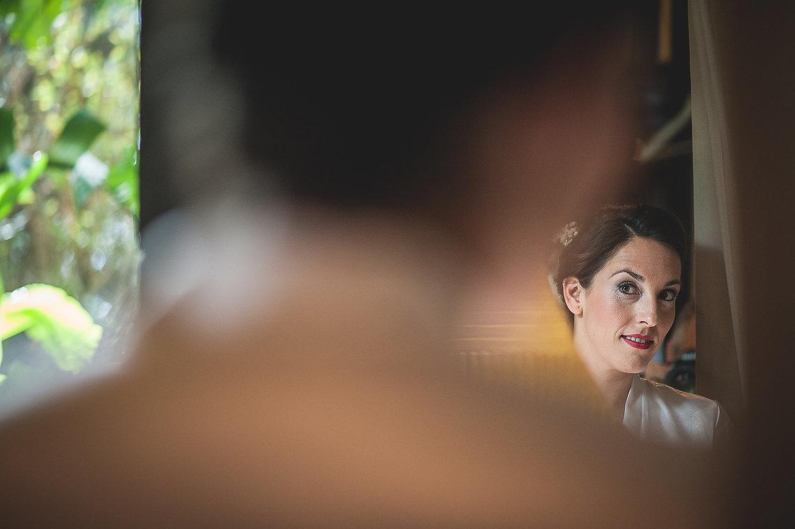 novia, espejo, miradas