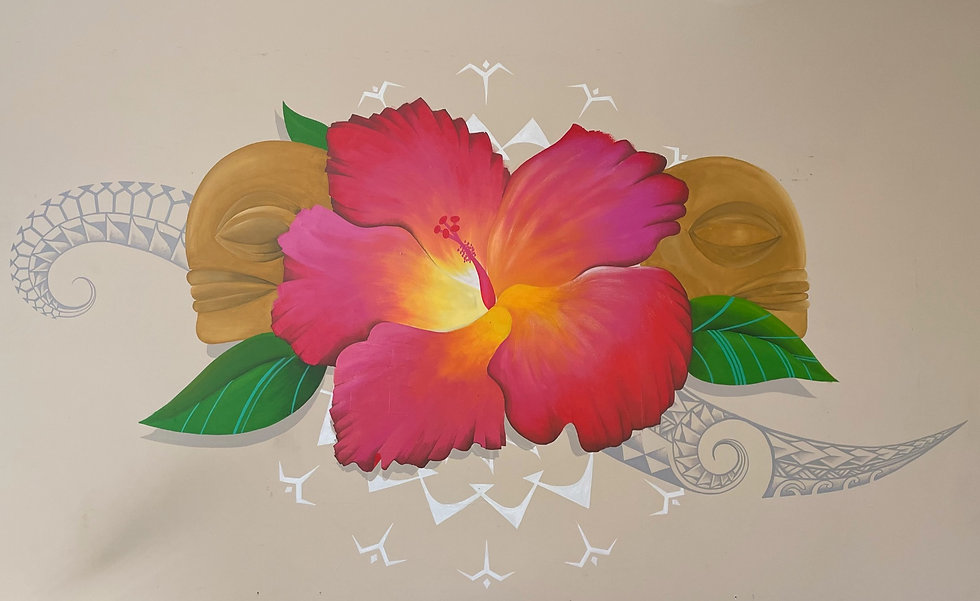 CR Lobby full view of hibiscus artwork w