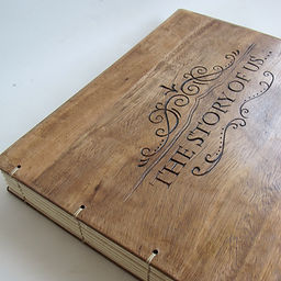 Wedding personalized album with engraved names in old wood. Handmade unique album.