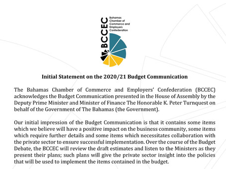 BCCEC PRESS STATEMENT | Initial Statement on the 2020/21 Budget Communication