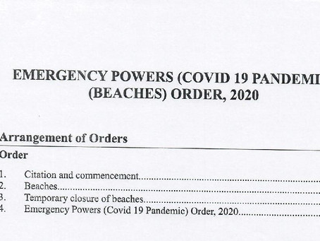 Emergency Powers (Covid19 Pandemic) (Beaches) Order, 2020