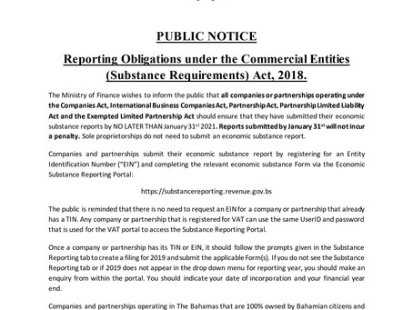 PUBLIC NOTICE: Extension of Reporting Deadline - Commercial Entities (Substance Reporting) Act, 2018