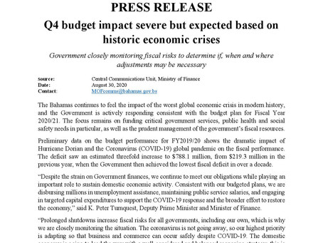 Press Release - Q4 budget impact severe but expected based on historic economic crises