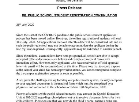 Press Release: Public School Student Registration Continuation
