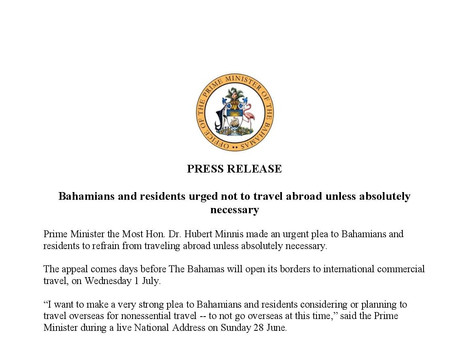 Press Release - Bahamians and residents urged not to travel abroad unless absolutely necessary