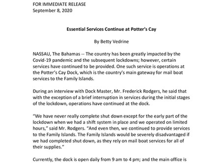 Essential Services Continue at Potter's Cay