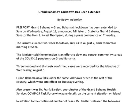 Grand Bahama's Lockdown Has Been Extended