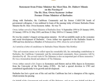 Statement on the Passing of The Rt. Hon. Owen Seymour Arthur Former Prime Minister of Barbados