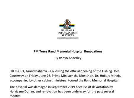 PM Tours Rand Memorial Hospital Renovations