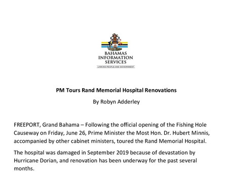 PM Tours Rand Memorial Hospital Renovations