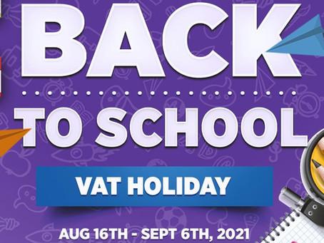 Merchant's Procedures & List of Items for Back-to-School VAT Holiday 2021