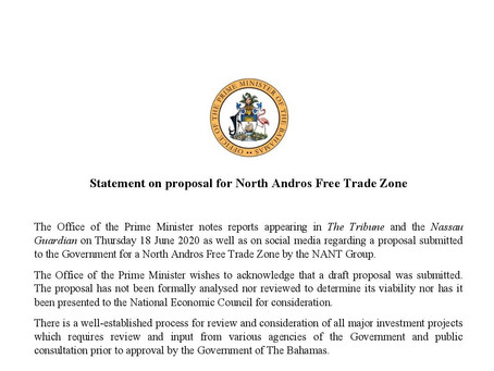 Statement on proposal for North Andros Free Trade Zone