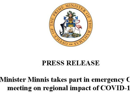 Prime Minister Minnis takes part in emergency CARICOM meeting on regional impact of Covid-19