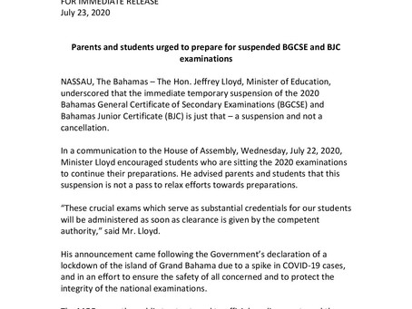 BGCSE and BJC examinations suspended and not cancelled