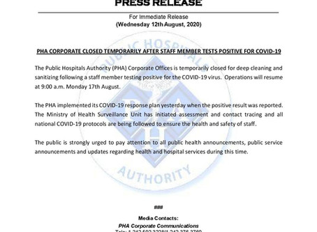 PHA Corporate Closed Temporarily After Staff Member Tests Positive for Covid-19