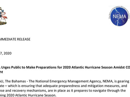 NEMA Urges Public to Make Preparations for 2020 Atlantic Hurricane Season Amidst COVID-19 Fight