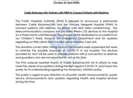 BCCEC Patron Sponsors Cable Bahamas / Aliv Partners with PMH to Connect Patients with Loved Ones