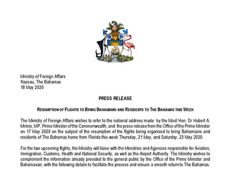 PRESS RELEASE: Resumption of Flights to Bring Bahamians and Residents to The Bahamas This Week