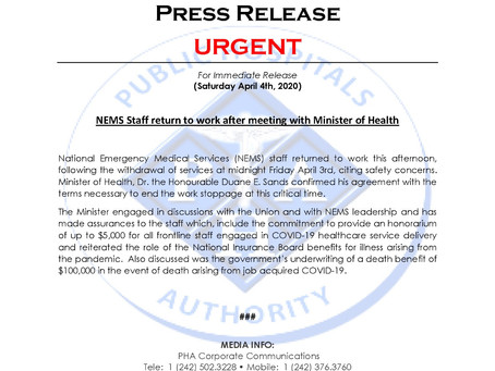 NEMS Staff return to work after meeting with Minister of Health