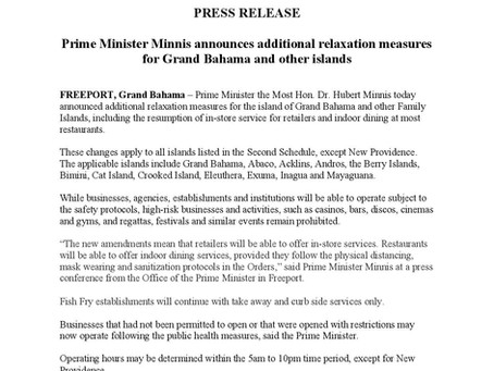 Prime Minister Minnis announces additional relaxation measures for Grand Bahama and other islands