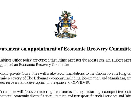 Prime Minister Minnis has Appointed an Economic Recovery Committee