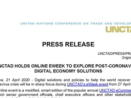 UNCTAD Holds Online E-Week to Explore Post-Coronavirus Digital Economy Solutions