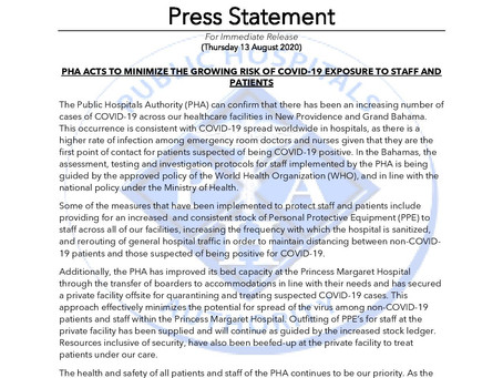 PHA Acts to Minimize the Growing Risk of Covid-19 Exposure to Staff and Patients