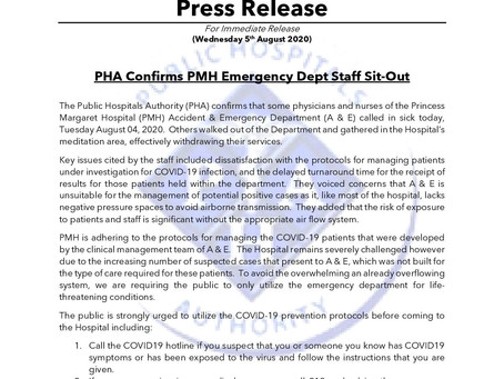 PHA Confirms PMH Emergency Department Staff Sit-Out
