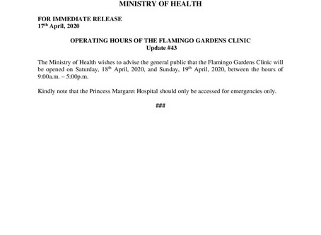 Operating Hours of The Flamingo Gardens Clinic