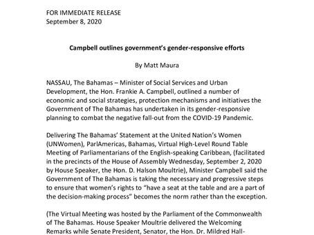 Campbell outlines government's gender-responsive efforts