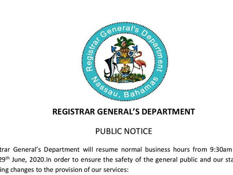 Registrar General's Department Public Notice