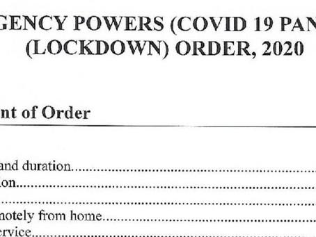 Emergency Powers (Covid19 Pandemic) (Lockdown) Order, 2020