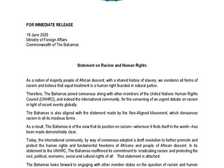 Press Release - Statement on Racism and Human Rights
