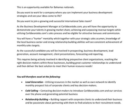 JOB VACANCY - Business Development Manager - Caribbeanjobs.com