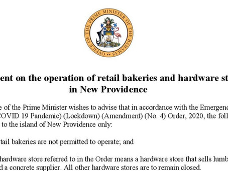 Statement on the operation of retail bakeries and hardware stores in New Providence