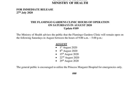 Flamingo Gardens Clinic Hours of Operation on Saturdays in August 2020
