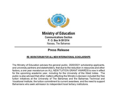 Moratorium For All New International Scholarships