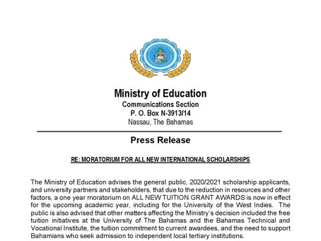Moratorium For All New International Scholarships