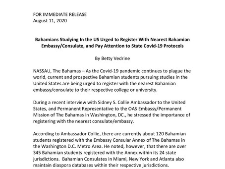 Bahamians Studying In the US Urged to Register With Nearest Bahamian Embassy/Consulate
